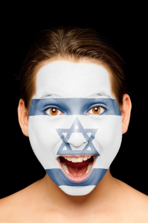 israeli: portrait of girl with israeli flag painted on her face