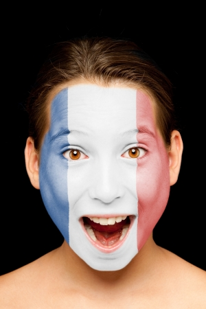 portrait of girl with french flag painted on her face Stock Photo - 17588625