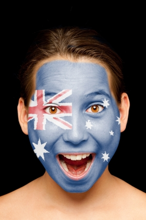 face paint: portrait of girl with australian flag painted on her face Stock Photo