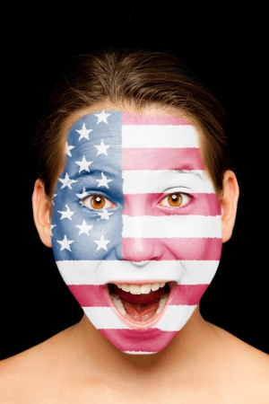 compatriot: portrait of girl with united states flag painted on her face Stock Photo