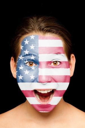 bandera estados unidos: Retrato de niña con bandera de Estados Unidos pintada en su cara