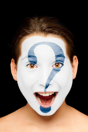 clueless: portrait of girl with interrogation symbol painted on her face Stock Photo