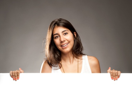 young woman holding a banner Stock Photo - 17588616