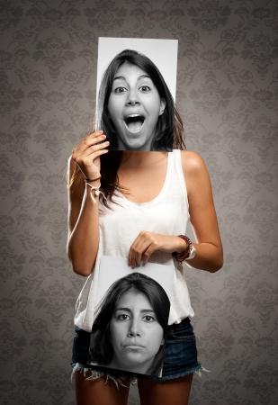 esquizofrenia: Retrato de niña con dos caras Foto de archivo