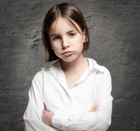 little girl with bored expression on face Stock Photo - 17606089