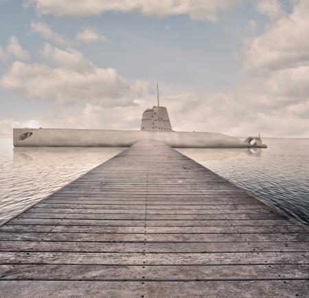 docked submarine photo