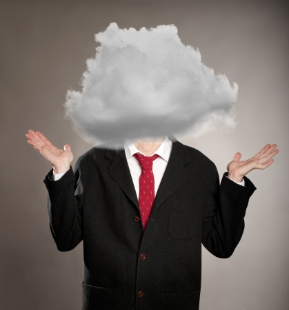 bad planning: businessman with a cloud on her head Stock Photo
