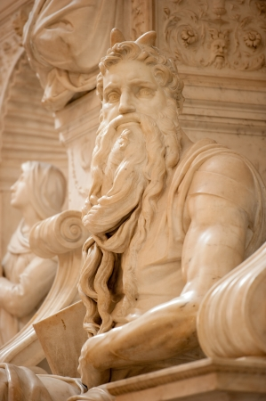 moses: The Moses on Pope Julius II tomb by Michelangelo in San Pietro in Vincoli, Rome,Italy  Stock Photo