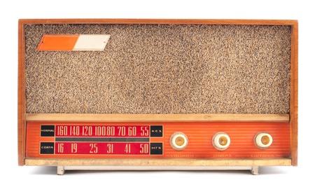 shortwave: vintage old radio isolated on white background Stock Photo