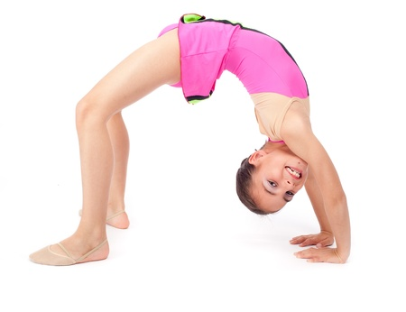 little rhythmic gymnast on white background Stock Photo - 20239322