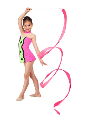 gymnastics sports: little rhythmic gymnast with ribbon