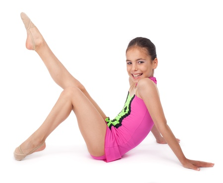 little rhythmic gymnast on white background photo