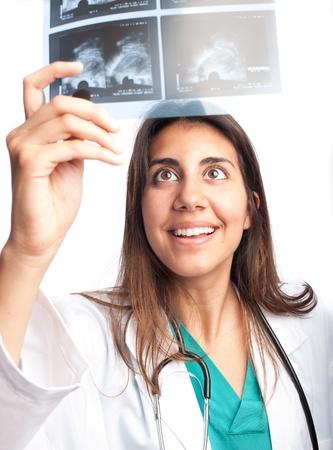 mammogram: Doctor examining a mammogram