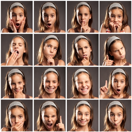 collection of little girl portraits with diferent expressions Stock Photo