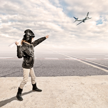 little aviator at the airport