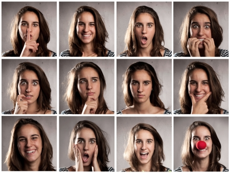 collection of young woman portraits with diferent expressions photo