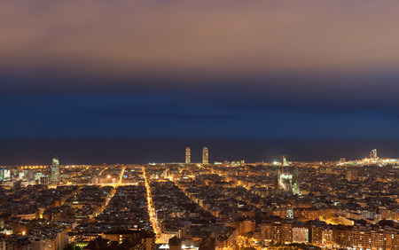 Barcelona skyline at night, Catalonia, Spain photo