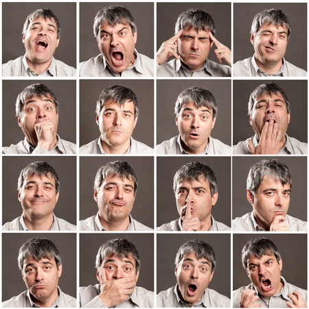 senior pain: portraits of man with different expressions and gestures