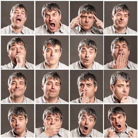 portretten van de mens met verschillende uitdrukkingen en gebaren Stockfoto