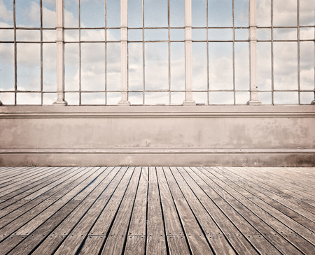 background abstracts: room with wide window and wood floor