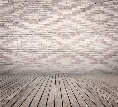 background abstracts: room with white bricks wall and wood floor