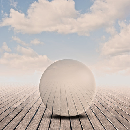 glass sphere: pier with glass sphere on sunset