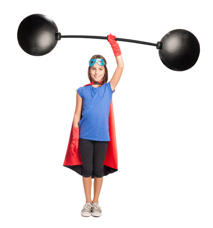 lifter: little girl superhero holding a heavy weight on white background