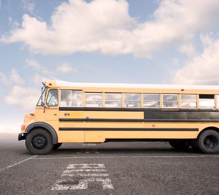yellow schoolbus: school bus in a parking