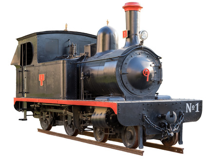 retro locomotive isolated on white