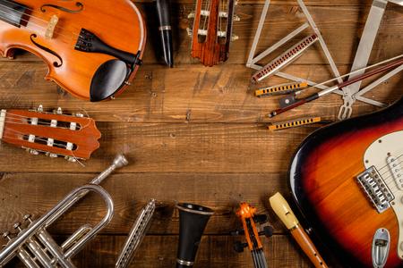 instrument in wood background Foto de archivo