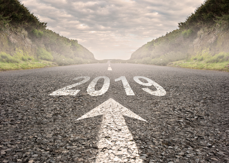 road with year 2019 painted on it Stockfoto
