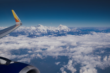 Himalayas ridge. Mount Everest aerial view from airplane in Nepal country side
