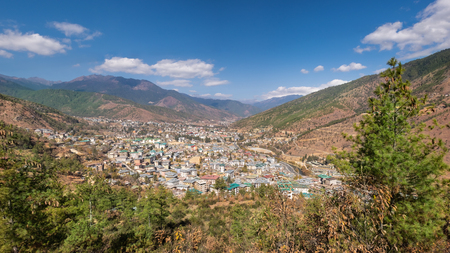panoramic aerial view of Thimphu city in Bhutan Stockfoto