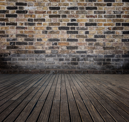 room with bricks wall and wooden floor Stockfoto