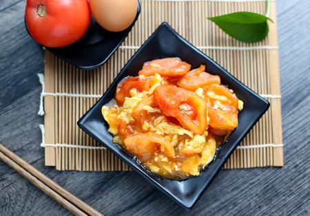 stir fried: Stir fried tomato and egg Stock Photo