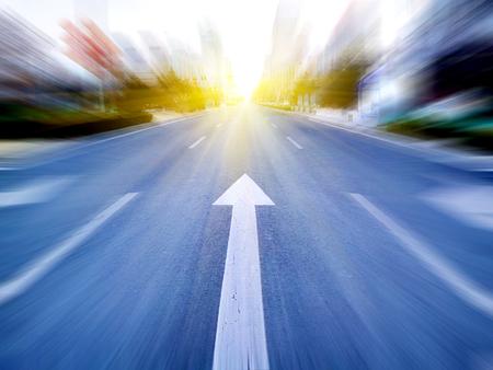 speeding: Speeding toward the sun on the city streets