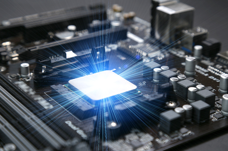 Installed in the motherboard of the computer's central processing unit CPU 스톡 콘텐츠