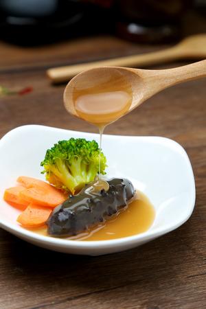 sea cucumber: Sea cucumber and abalone sauce
