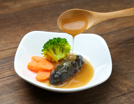 sea cucumber: Sea cucumber and abalone sauce