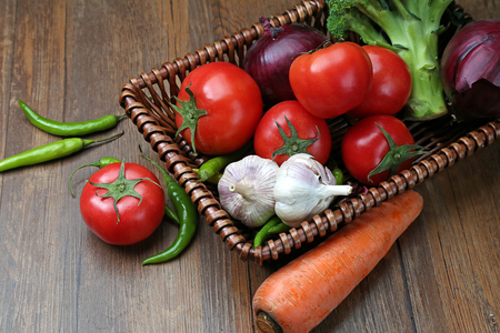 pollution free: A variety of vegetables in a wicker basket