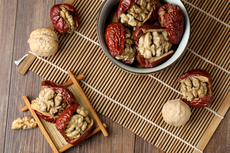 red dates and  walnut 스톡 콘텐츠