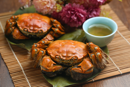 steamed crabs from yangcheng lake 스톡 콘텐츠