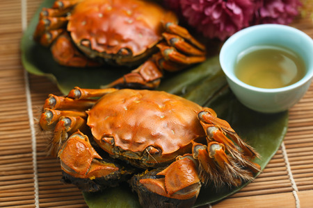 steamed crabs from yangcheng lake Stock Photo