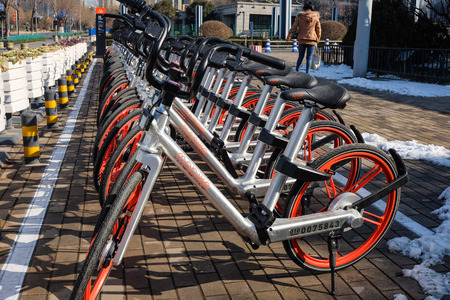 In January 30, 2017, Jinan City, Shandong province China, smart bike parked neatly in front of the municipal government