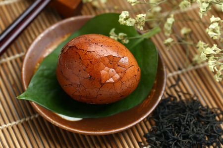 tea egg in plate Stock Photo