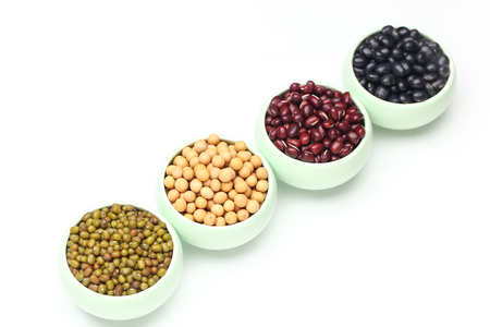various beans isolated on white background