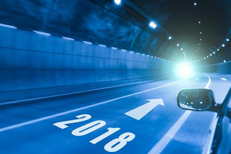 2018 happy new year,tunnel in the night Archivio Fotografico