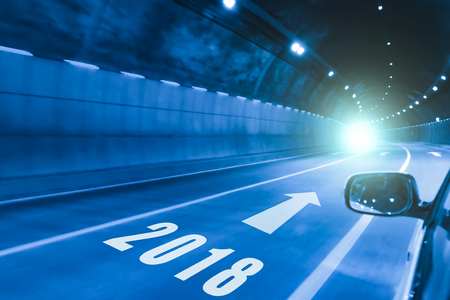 2018 happy new year,tunnel in the night Stock Photo