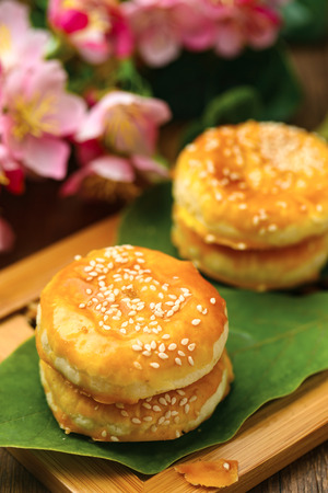 Chinese pastry cake close up view