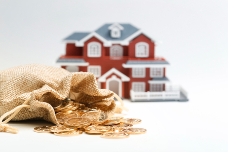 Money bag and house model on white background